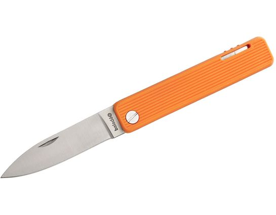 Baladeo Papagayo Folding Knife 2.875 inch Satin Blade, Orange TPE Handles