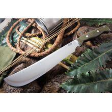 Bark River Knives Bravo Machete 12.125 inch CPM-1V Satin Upswept Blade, Green Canvas Micarta Handles, Leather Sheath