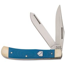 Bear & Son G54B Blue Jeans Series Trapper, 4-1/8 inch Closed, Blue G10 Handles