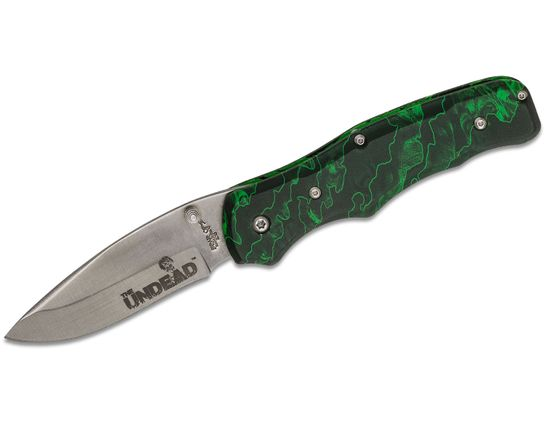 Bear OPS Bear Rancor Undead Folding Knife 2-7/8 inch Satin Blade, Reaper Z Aluminum Handles (UD-MC-100)