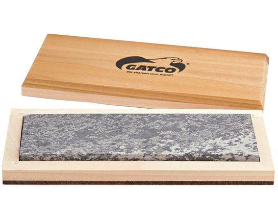 GATCO 6 inch 100% Natural Soft Arkansas Sharpening Stone, Wooden Storage Case