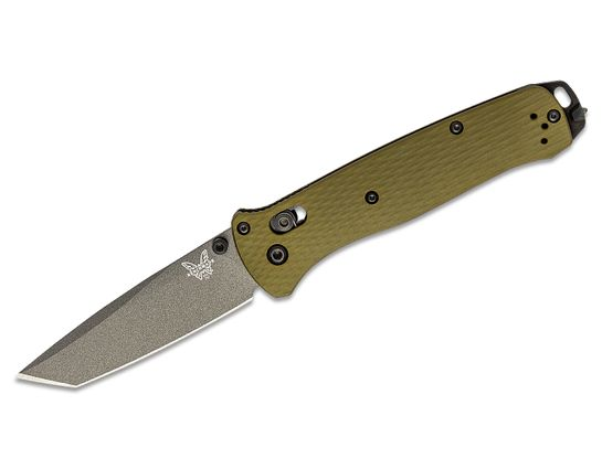 Benchmade Bailout AXIS Folding Knife 3.38 inch CPM-M4 Gray Cerakote Tanto Plain Blade, Woodland Green Aluminum Handles