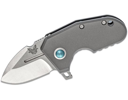 Benchmade 756 Shane Sibert mPR Micro Pocket Rocket Flipper Knife 1.87 inch 20CV Stonewashed Plain Blade, Titanium Handles