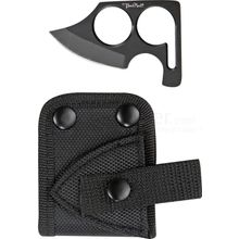 Benchmark Black Fingerhold Neck Knife Skinner, 2-3/4 inch Overall Length, Nylon Belt Sheath