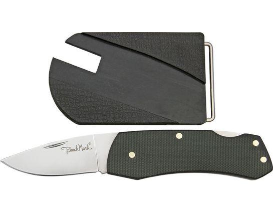 Benchmark Belt Buckle Knife, 2 inch Plain Satin Blade, Black G10 Handle