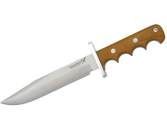 Blackjack Classic Model 14 Halo Attack Fixed 7-1/2 inch Blade, Finger Grooved Brown Micarta Handles