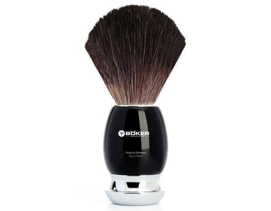 Boker Black Fiber Shaving Brush, Black Synthetic Handle
