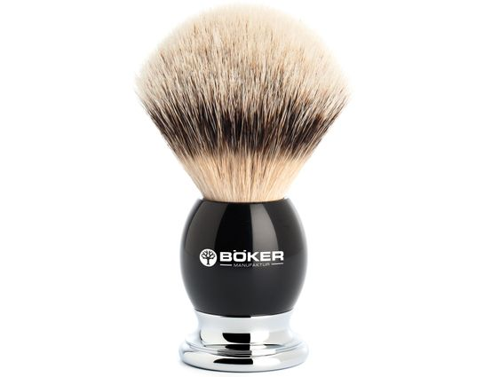 Boker Silvertip Badger Shaving Brush, Grenadill Wood Handle