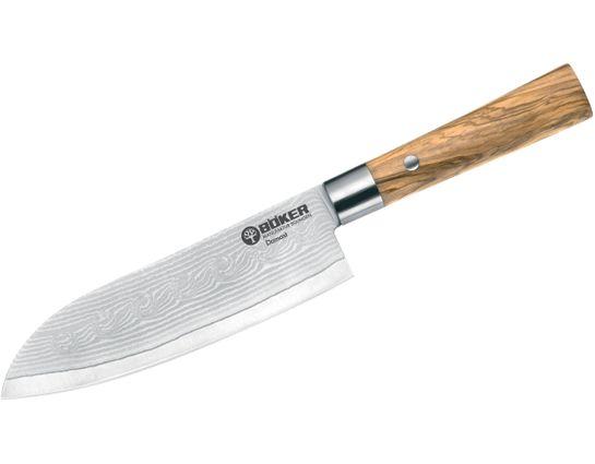 Boker Damascus Olive Santoku Knife 6.75 inch Blade, Olive Wood Handles