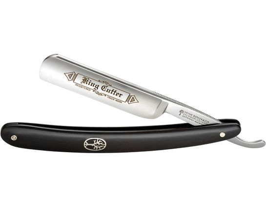 Boker King Cutter Straight Razor 5/8 inch Carbon Steel Blade, Black Synthetic Handles