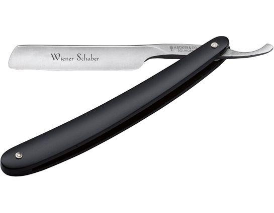 Boker Wiener Schaber Straight Razor 4/8 inch Carbon Steel Blade, French Head, Black Synthetic Handles