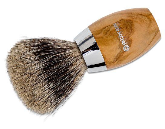 Boker Pure Badger Hair Shaving Brush, Olive Wood Handle