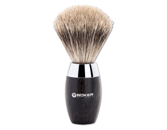 Boker Modern Badger Shaving Brush, Bog Oak Wood Handle