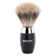 Boker Modern Badger Shaving Brush, Bog Oak Wood Handle