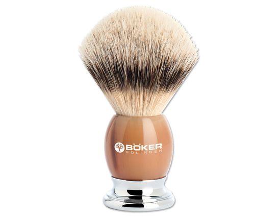 Boker Premium Horn Badger Shaving Brush, Real Horn Handle
