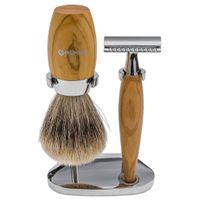 Boker Modern 3 Piece Razor Shave Set, Olive Wood