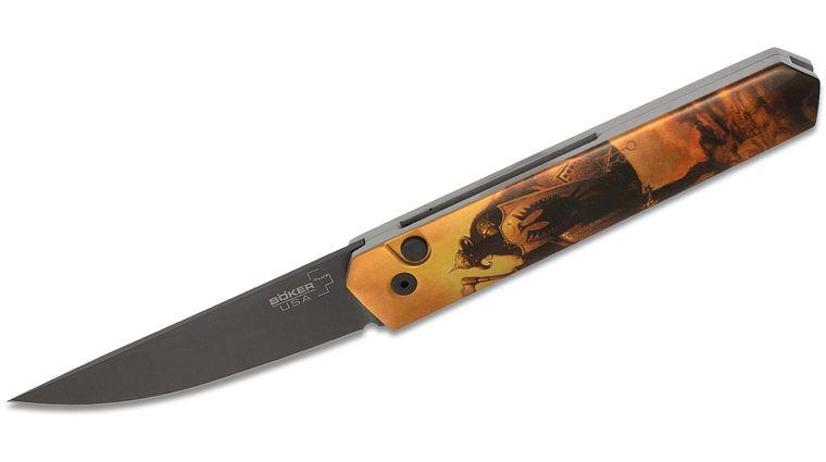 Boker Plus/Pro-Tech USA-Made Burnley Kwaiken AUTO Folding Knife 3.5 inch 154CM Black Blade, Frazetta Death Dealer Artwork, Aluminum Handles
