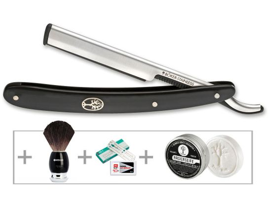 Boker Barberette Shaving Gift Set with Black Synthetic Replaceable Blade 5/8 inch Straight Razor, Brush, Soap, and Extra Blades