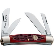 Boker Traditional Series Congress Folding Knife 3-5/8 inch Closed, Red Jigged Bone Handles