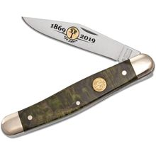 Boker 150th Anniversary Stockman Pocket Knife, Green Curly Birch Handles, 4 inch Closed