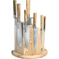 Boker Damascus Olive 8 Piece Kitchen Block Set, Olive Wood