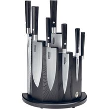 Boker Damascus Black 8 Piece Kitchen Block Set, Black Wood Magnetic Block