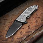 Bradford Knives Guardian3 Flipper 3.25 inch M390 Black DLC Blade, Milled Titanium Handles