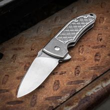 Bradford Knives Guardian3 Flipper 3.25 inch M390 Stonewashed Blade, Milled Titanium Handles