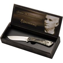 Browning John M. Browning Commemorative Fixed Blade Hunter 3.5 inch Satin, Engraved Bone Handles, Wood Presentation Box
