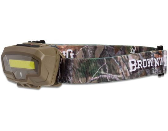 Browning Night Gig LED Headlamp, FDE Polymer Body with Camo Strap, 485 Max Lumens