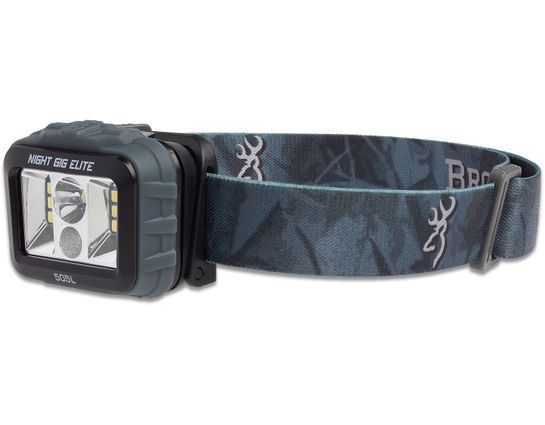Browning Night Gig Elite LED Headlamp, Black Polymer Body with Camo Strap, 505 Max Lumens