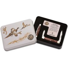 Browning 50th Anniversary Buckmark Classic Two-Piece Stockman Combo Set, Cocobolo Wood Handles, Commemorative Gift Tin