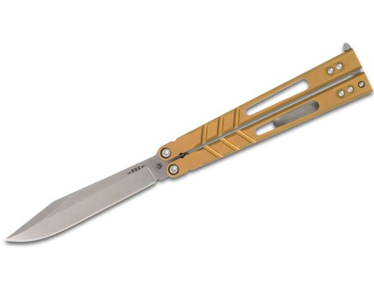 BRS Bladerunners Systems Premium Alpha Beast Balisong Butterfly 4.5 inch 154CM Alt Blade, Bronze Anodized Titanium Handles
