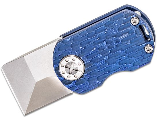 Curtiss Knives ODT Original Dog Tag Flipper Knife 1 inch Stonewashed CTS-XHP Square Tanto Blade, Blue FJ Milled Titanium Handles