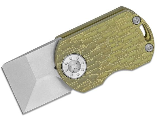 Curtiss Knives ODT Original Dog Tag Flipper Knife 1 inch Stonewashed CTS-XHP Square Tanto Blade, Bronze FJ Milled Titanium Handles