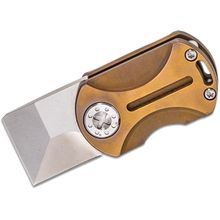 Curtiss Knives ODT Original Dog Tag Flipper Knife 1 inch Stonewashed CTS-XHP Square Tanto Blade, Bronze TACMOD Titanium Handles