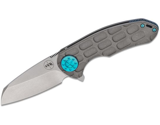 Curtiss Knives F3 Medium Flipper Knife 3.25 inch Stonewashed S35VN Wharncliffe Blade, FF Milled Titanium Handles
