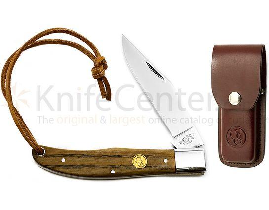 Canal Street Cutlery 5 1/4 inch Single Blade Folding Hunter, Chestnut Handles, Leather Sheath
