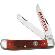 Case Marines Dark Red Bone Trapper 4-1/8 inch Closed (6254 SS)