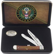 Case US Army Embellished Smooth Chestnut Bone Trapper in Jewel Box 4-1/8 inch Closed (6254 SS)
