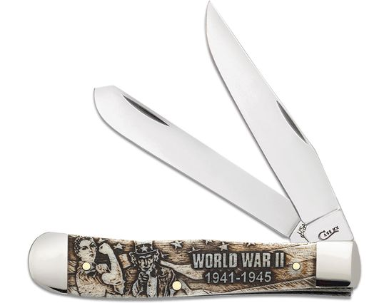 Case War Series WWII Embellished Smooth Natural Bone Trapper 4.13 inch Closed (6254 SS)