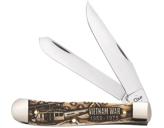 Case Embellished Smooth Natural Bone Vietnam Trapper 4.125 inch Closed (6254 SS)