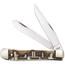 Case Embellished Smooth Natural Bone Enduring Freedom Trapper 4.125 inch Closed (6254 SS)