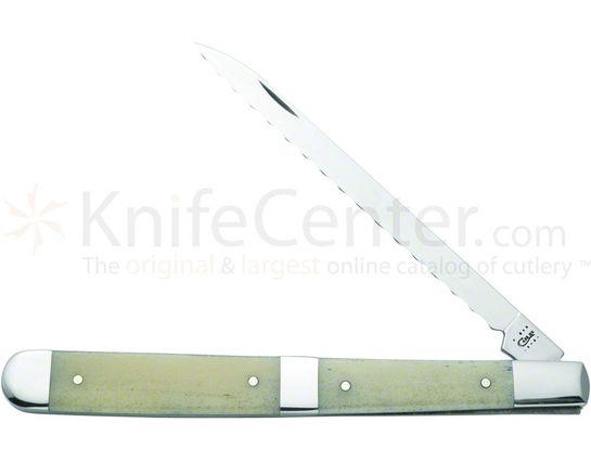 Case Melon Tester Portable Steak Knife 5-1/2 inch Smooth Bone Handles (6100 SS)