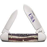 Case Star Spangled Embellished Smooth Natural Bone Canoe Knife 3.625 inch Closed (62131 SS)