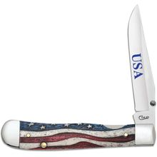 Case Star Spangled Color Wash Bone Kickstart Assisted TrapperLock 4.13 inch Closed (6154AC SS)