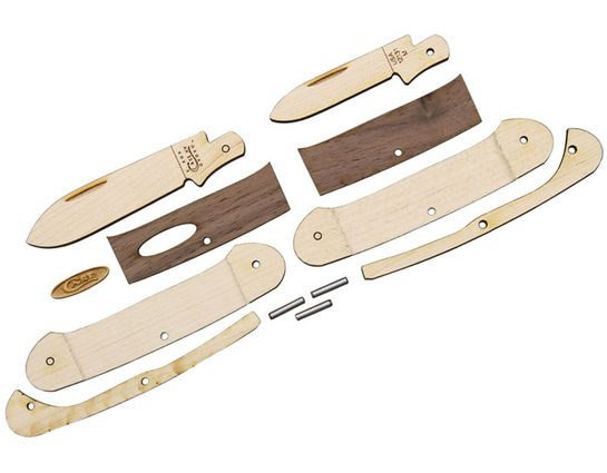 Case Wooden Pocket Knife Kit, Canoe, Dark Wood Handles, Gift Box/Tin