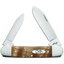 Case Smooth Natural Curly Oak Canoe Pocket Knife 3.63 inch Closed (72131 SS)
