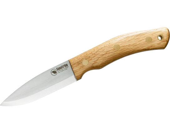 Casstrom Sweden No.10 SFK Fixed 3.875 inch O2 Scandi Ground Blade, Oak Wood Handles, Leather Sheath