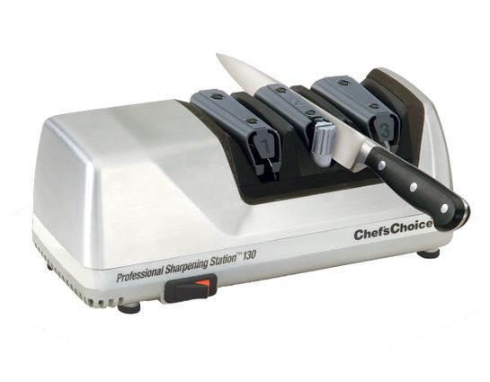 Chef's Choice Professional Sharpening Station Electric Knife Sharpener Model 130M, Brushed Metal